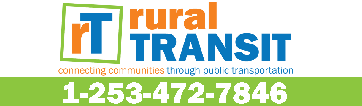ruralTRANSIT logo: connecting communities through public transportation 1-253-472-7846